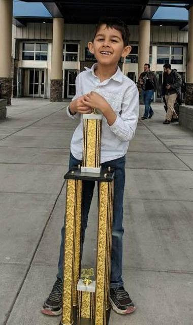 Ayaan Kang is the first place winner at the Washington State Chess Championships at tri-cities on 4/21/18 -