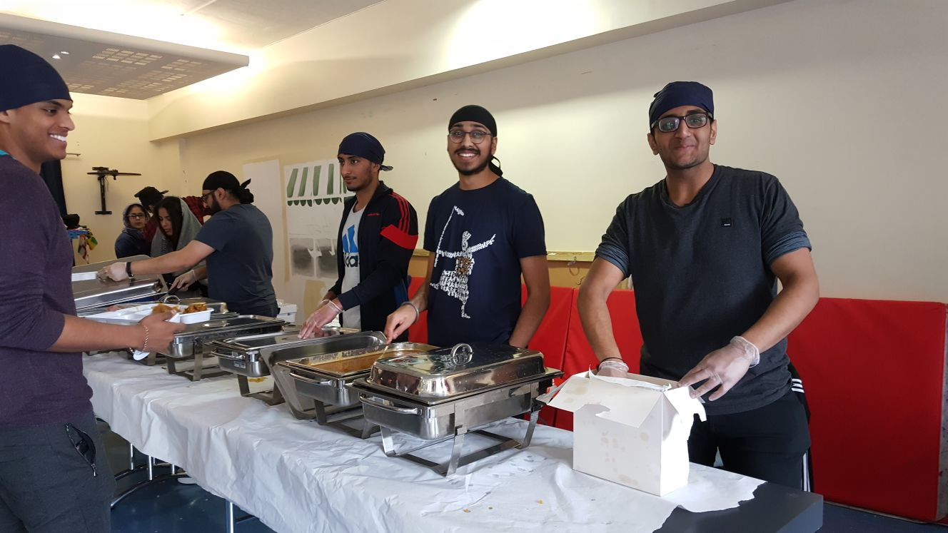 Volunteers at St George's first ever langar on campus!