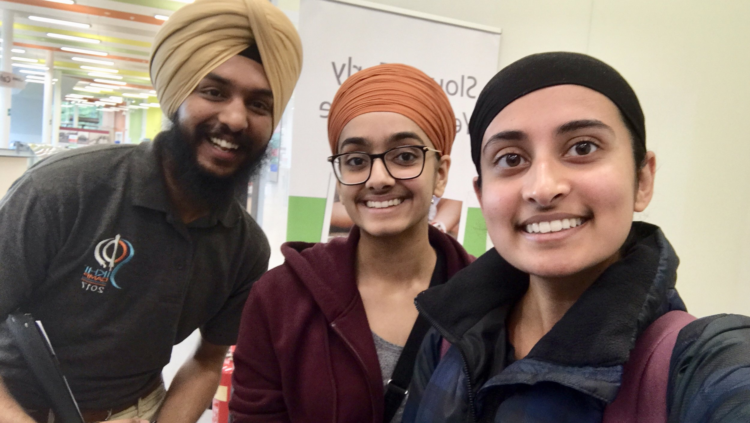 Jaspreet Singh at the premiere in Slough on Sunday 9th June 2019 alongside Jaskeerut Kaur (Birmingham City University) and Caren Kaur (King's College London).