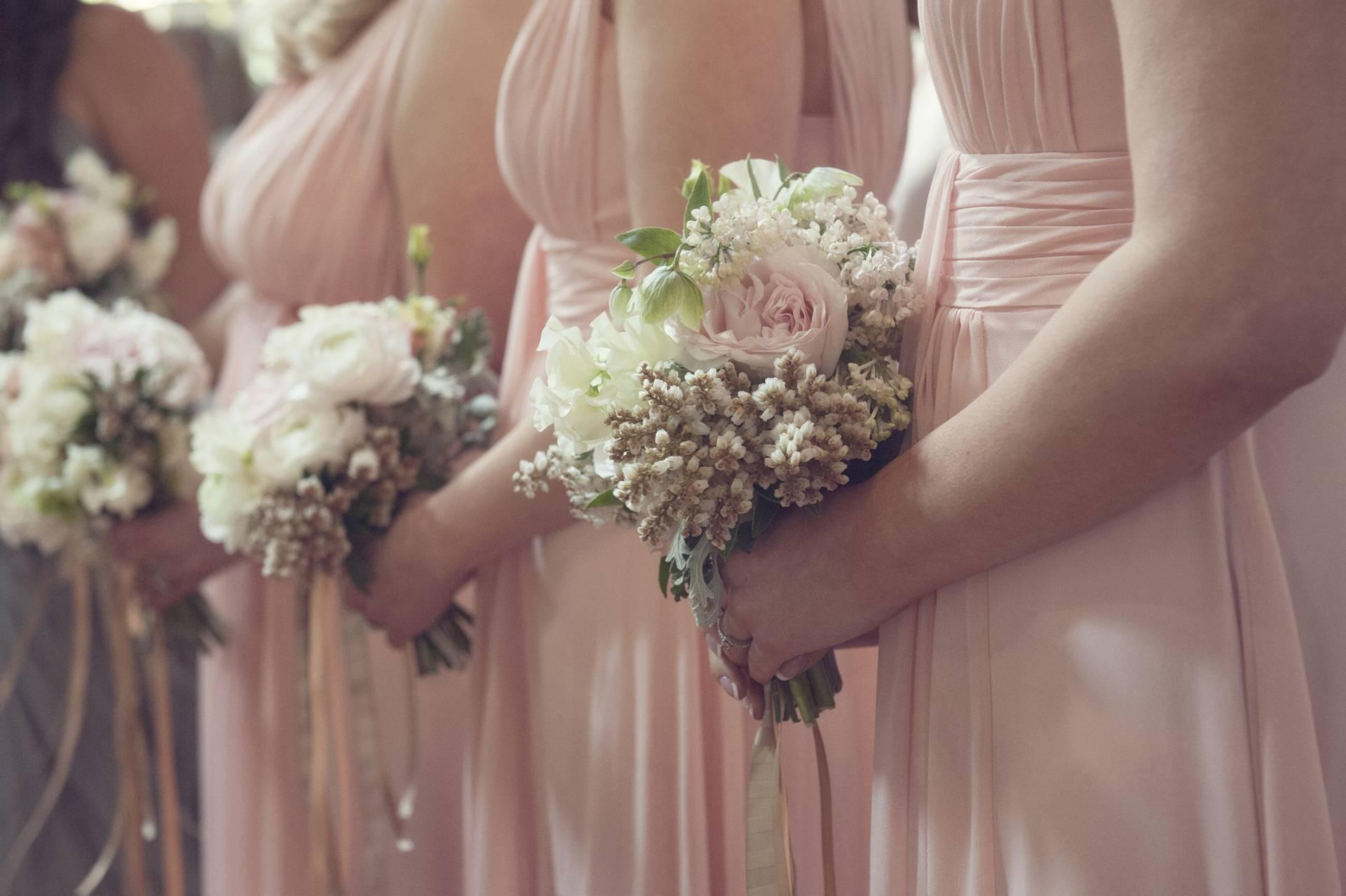 Bridesmaids line up