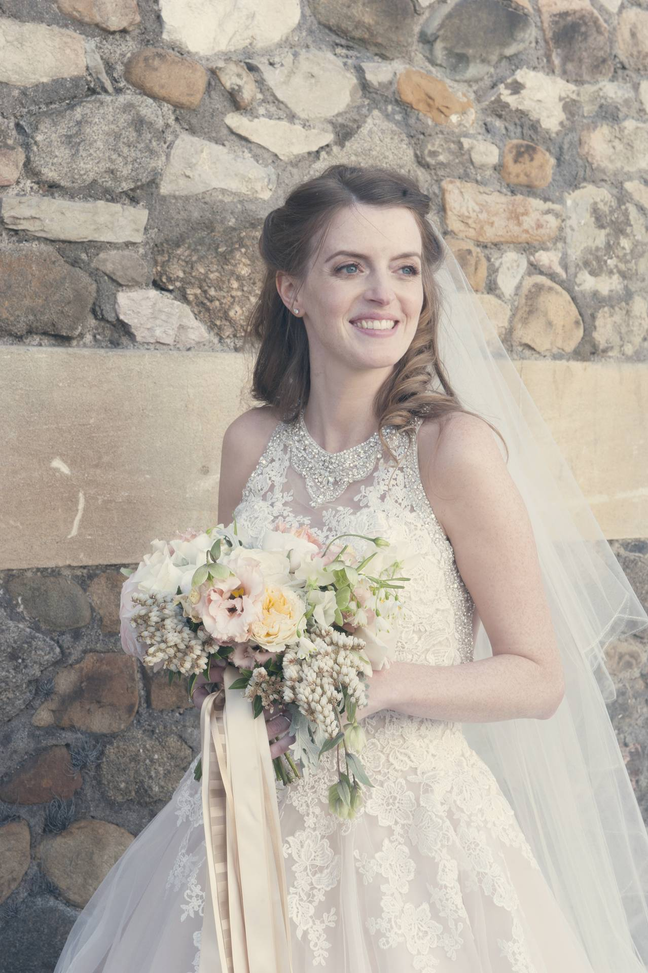 Sarah the bride with beautiful hand tie