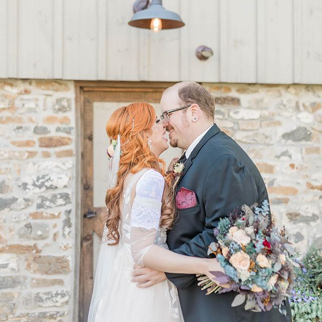 K&R wanted to keep their vows private - reading each others before turning around for their first look - it was such a special & emotional moment for everyone!  #philadelphiaweddingphotographer #buckscountyweddingphotographer #buckscountybride #thefarmbakeryandevents #meyersfarmweddings #barnwedding #alternativebride #altwedding #fallwedding