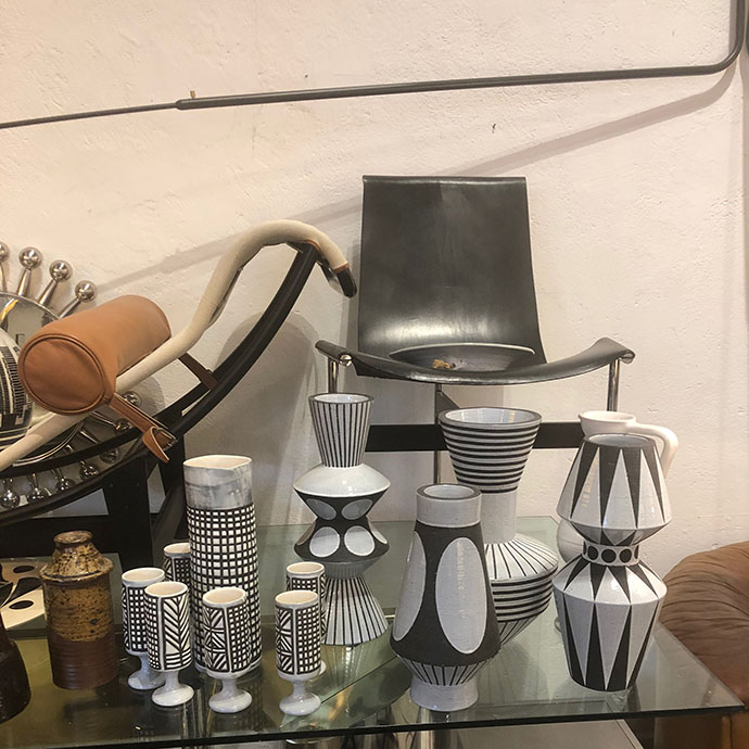 a dream to see these two collections side by side… pieces on the right are roger capron left is the collection for the parker palm springs hotel I designed while at jonathan adler. 50 Cinquante is packed with incredible pieces - I want 5 of everything in there!!!