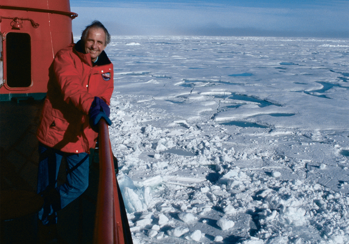 Geoffery Kent poses on boat in the North Pole