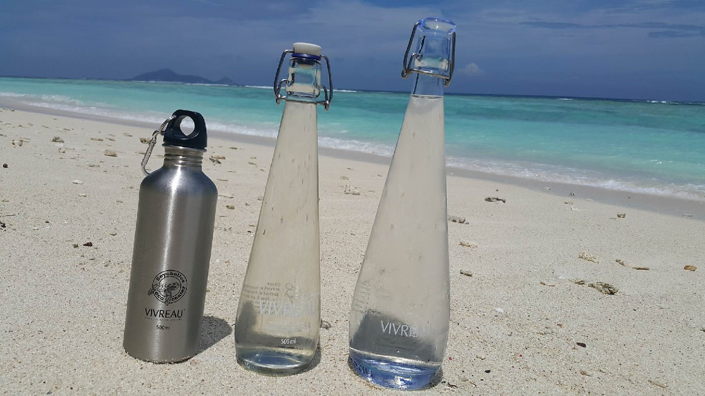 Glass and carbon bottles are used to reduce the amount of plastic on the island