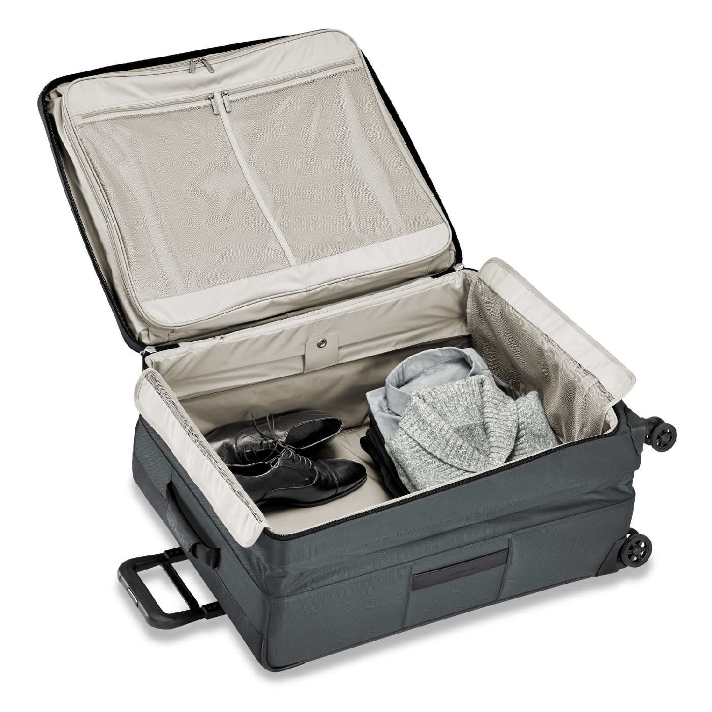 Briggs & Riley open suitcase showcasing the depth for items
