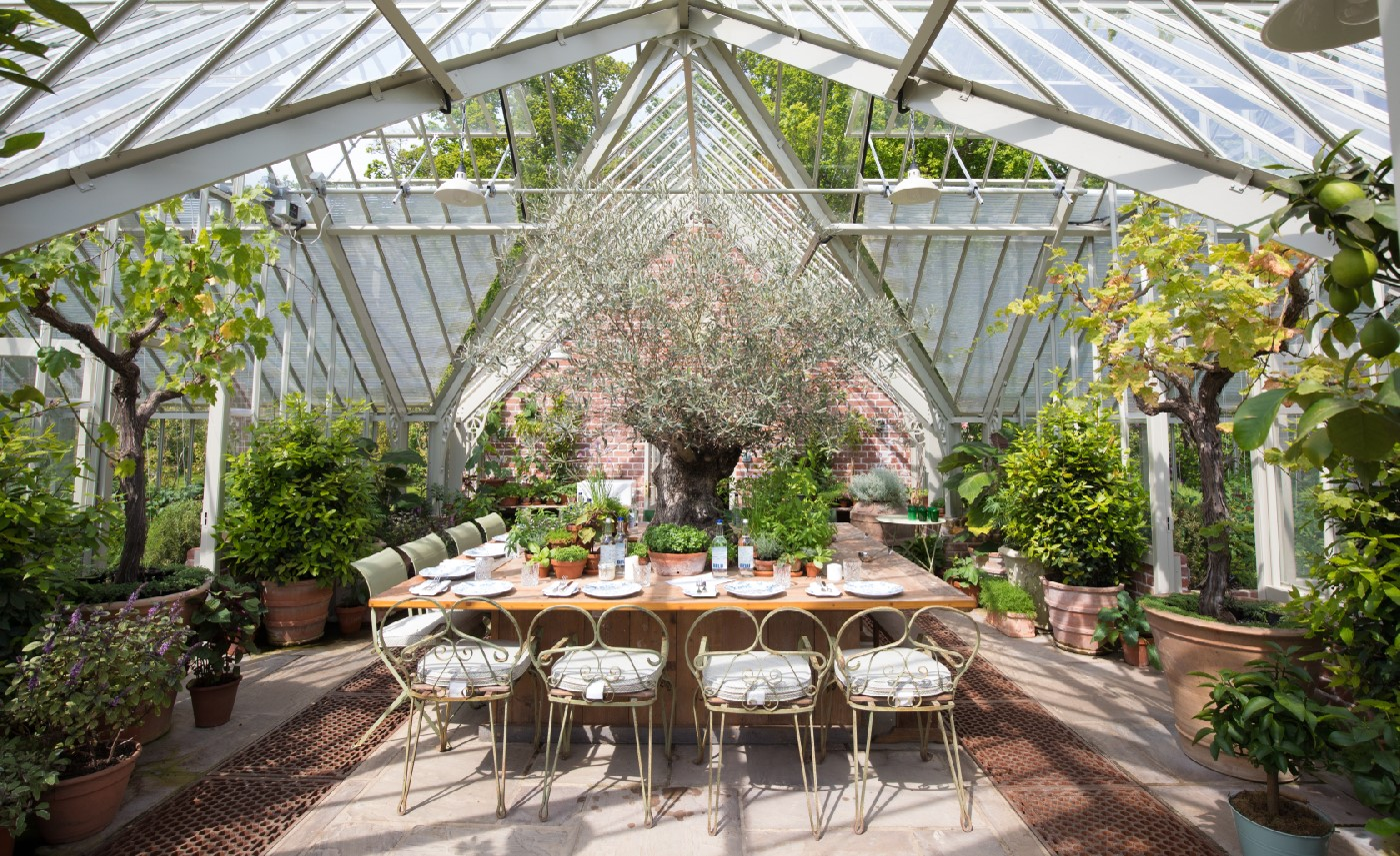 Beautiful Kamalaya lunch setting in the greenhouse at Lime Wood