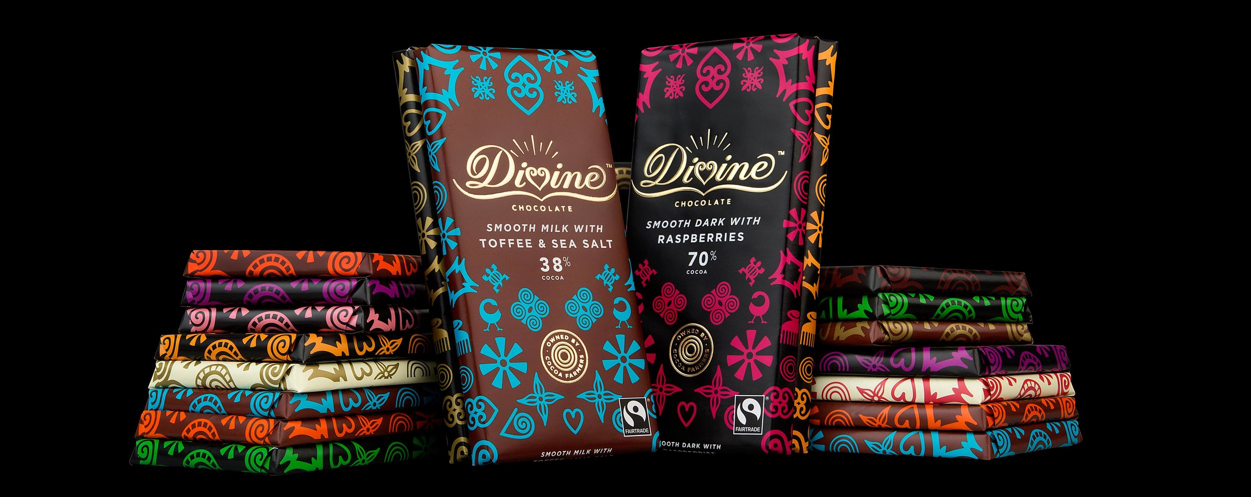 A selection if Divine chocolate bars