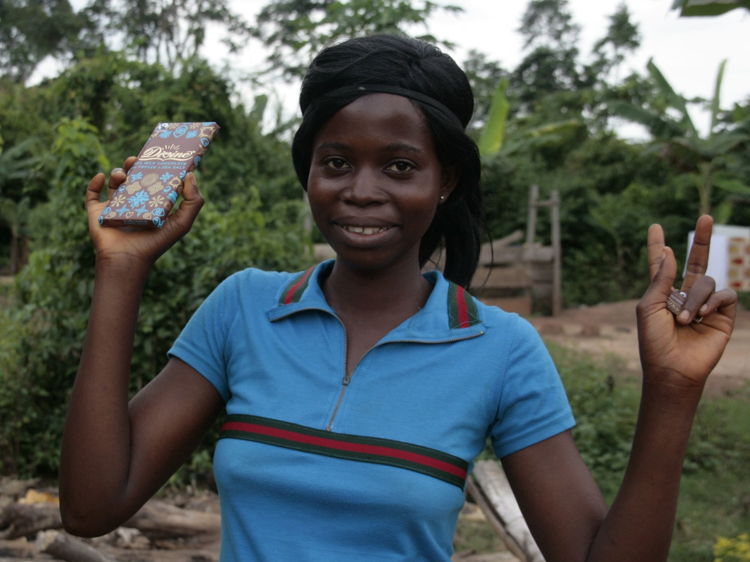 Coco farmer with Divine chocolate
