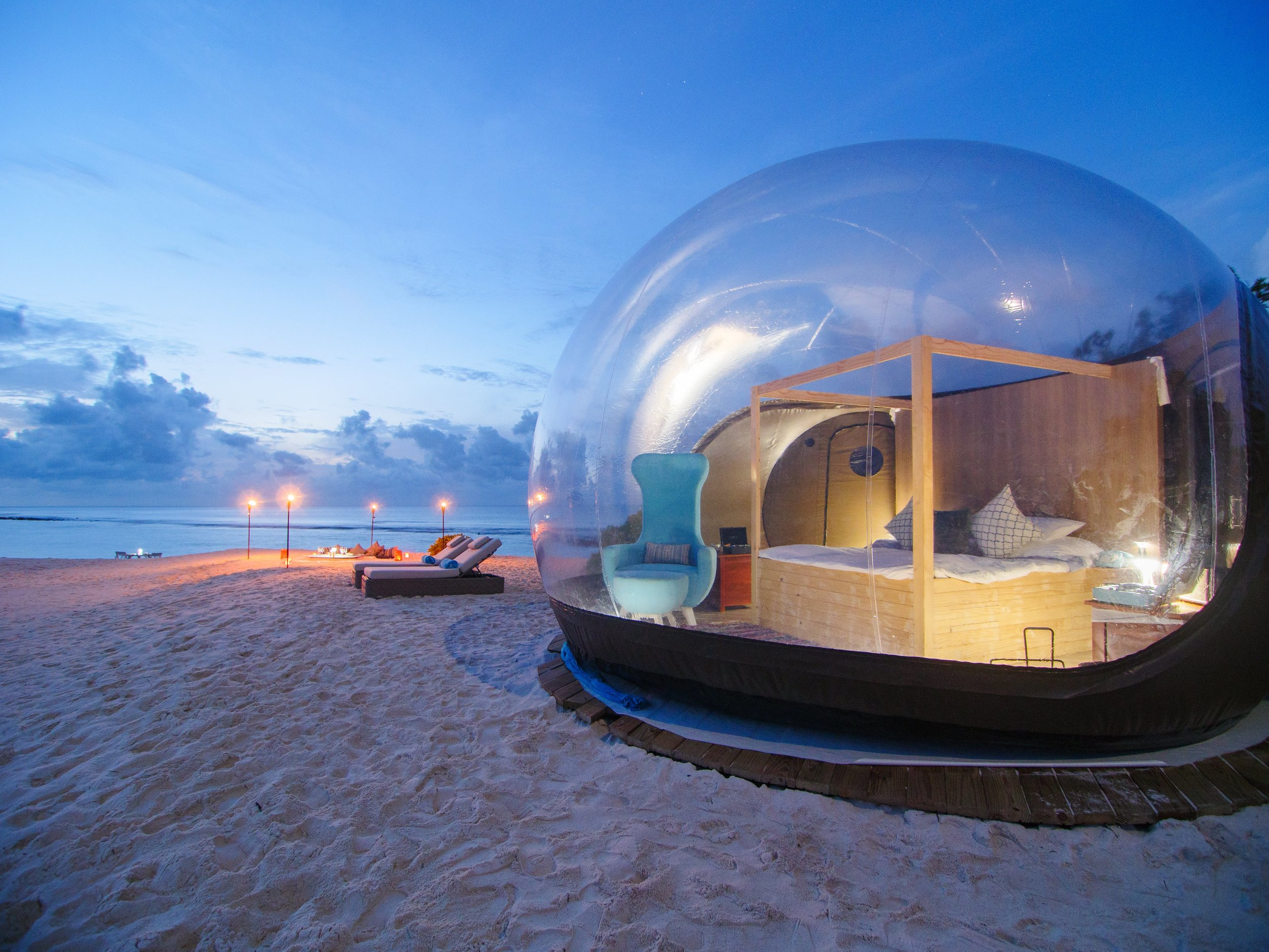 Beach Bubble tent at Finolhu Maldives