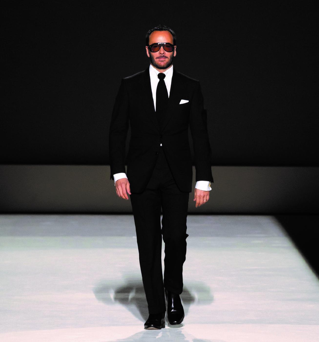 Tom Ford model on the catwalk