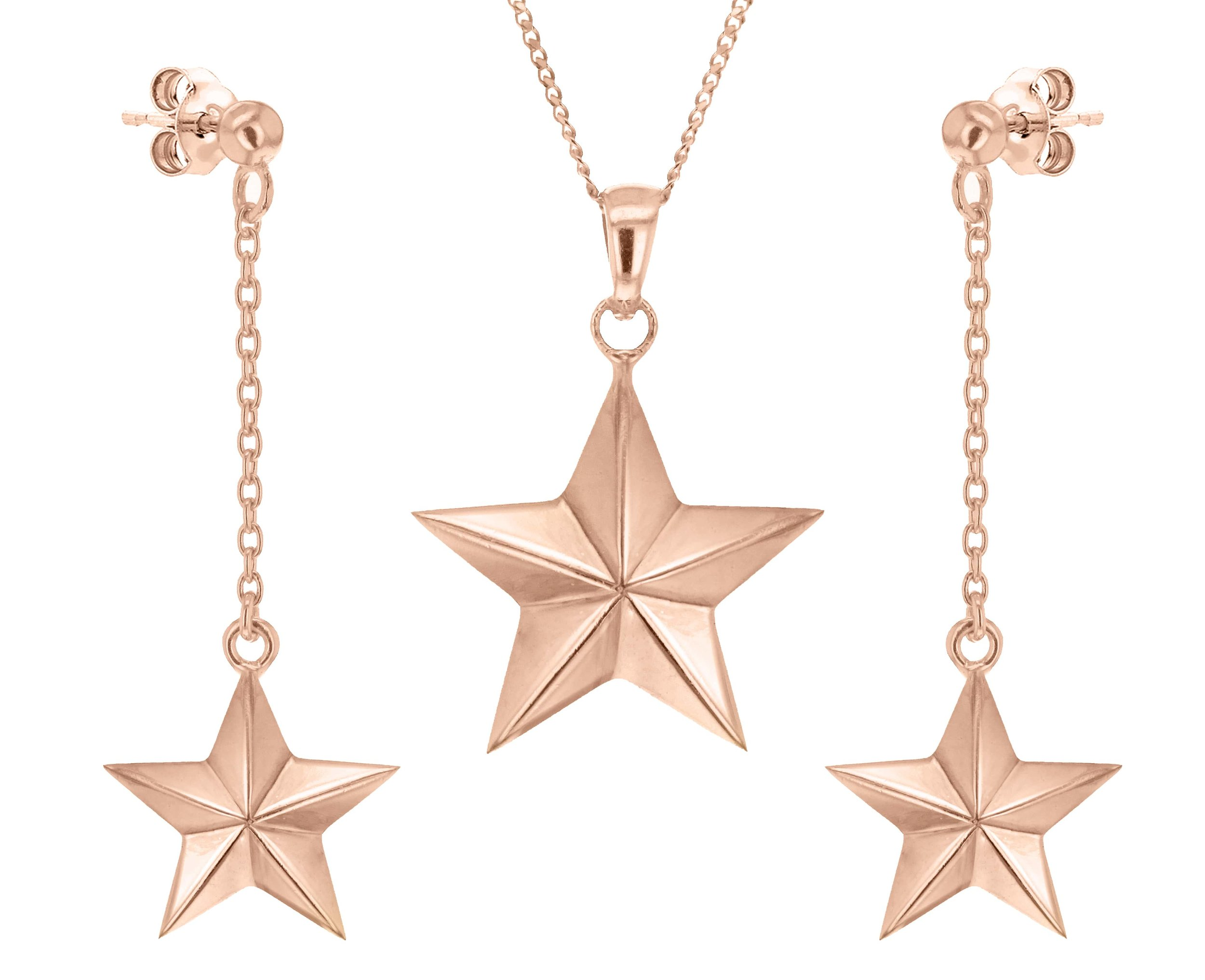 True rocks gold star chain and earrings set