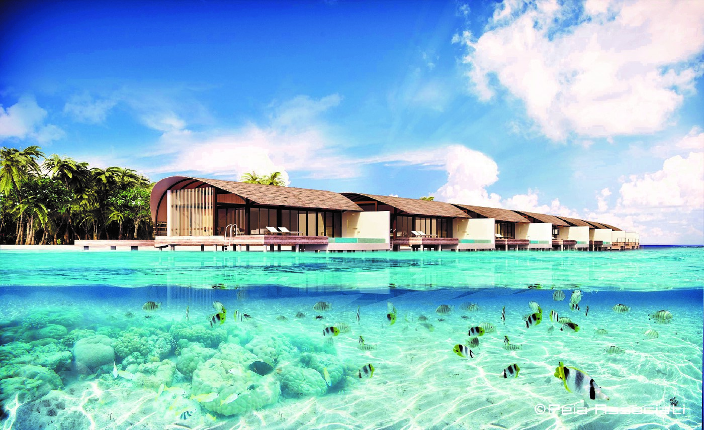Westin Maldives exterior with ocean view