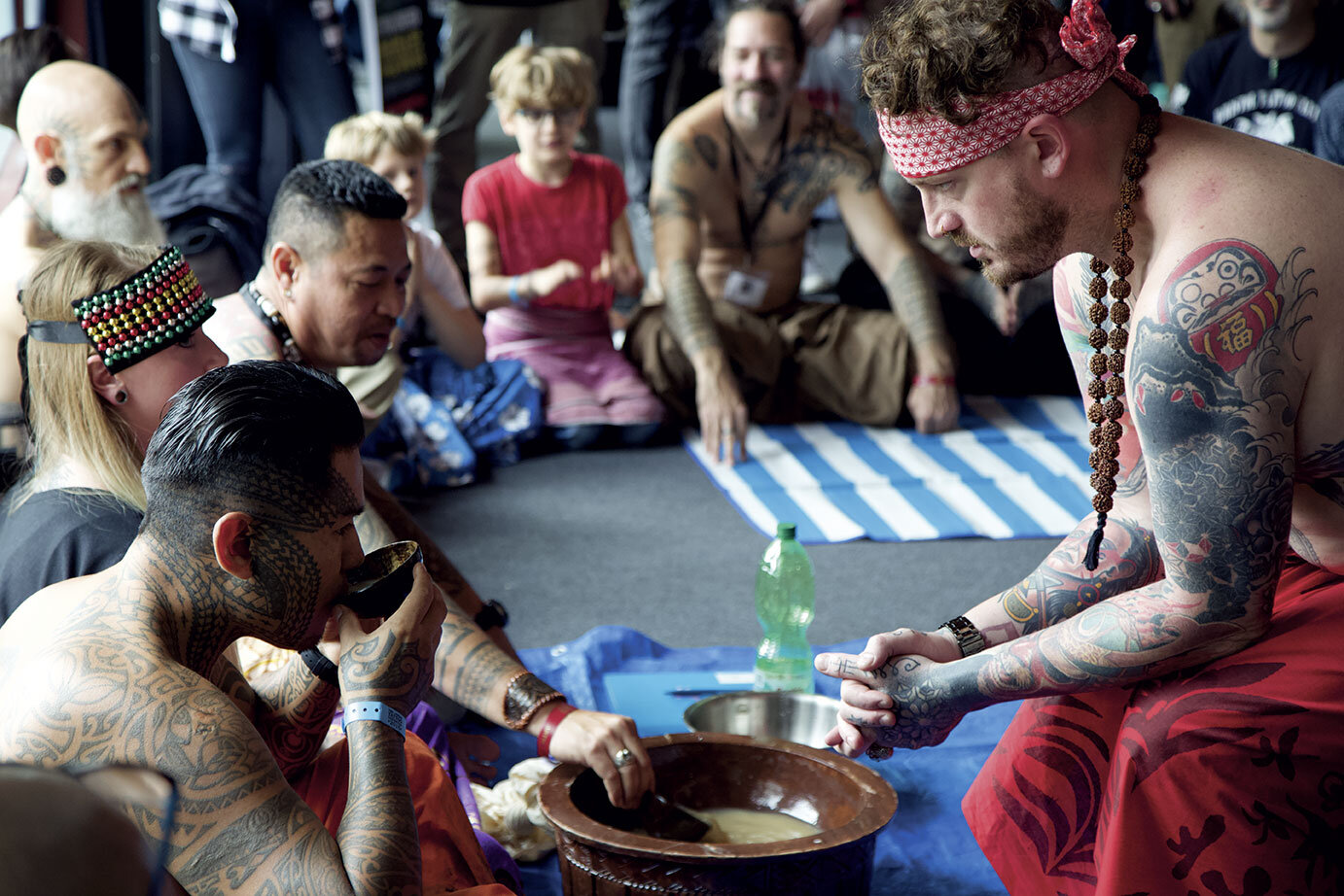 The opening Kava ceremony at the London Tattoo convention