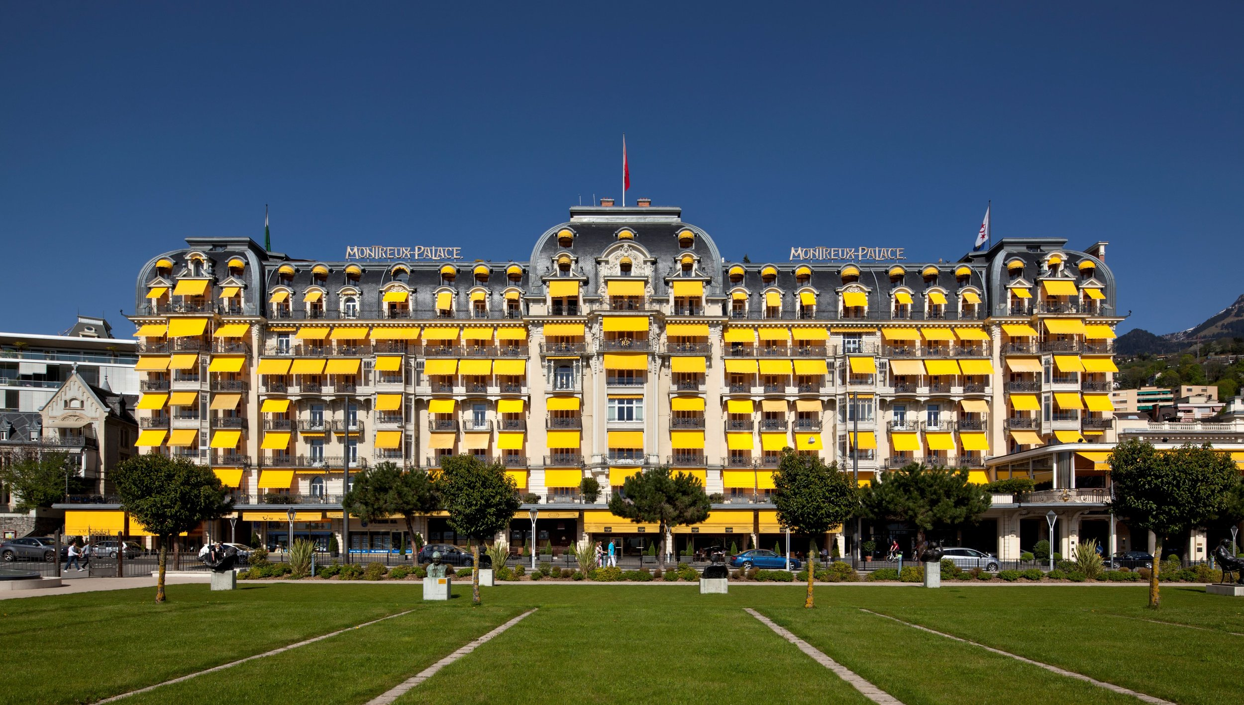 Exterior view of the stunning Fairmont Le Montreux Palace