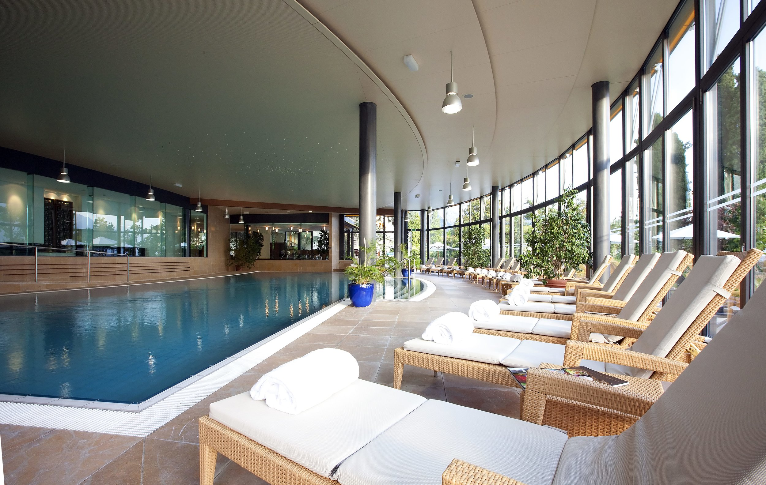 Fairmont Le Montreux Palace spa pool and loungers