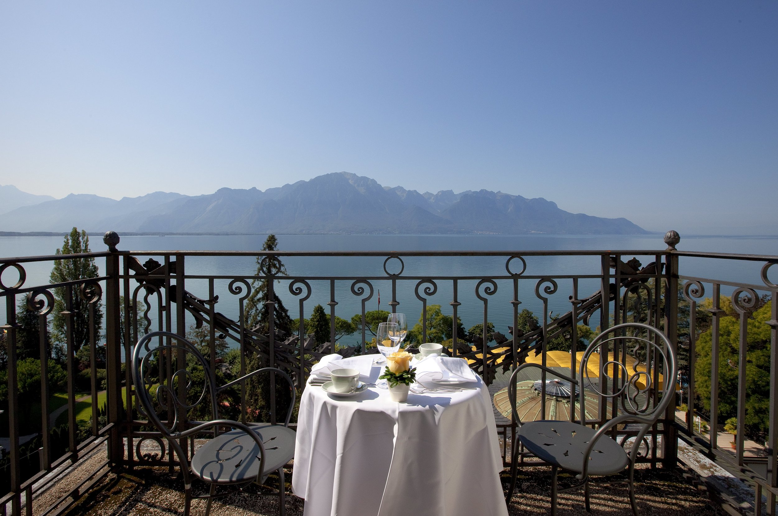 View of the lake from suite balcony at Fairmont Le Montreux Palace