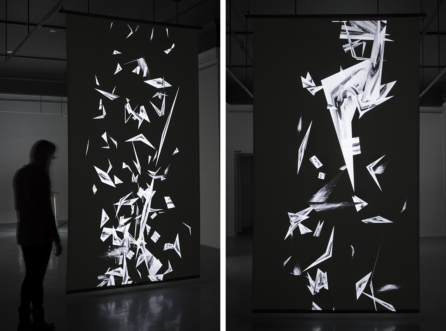 "Endless , 2019, digital projection, 3D animation, rear projection screen, 71x126"", 10:00 min.   (Installation View)   Confronted by a suspended vertical image plane that stands almost 11 feet tall, a projection displays 2D images that fold, bend and twist as they meander at varying speeds in an endless stream. A monochromatic composition within a black void, fragmented and invisible forces affect cropped images of female bodies. Together, gravity and wind push and pull the pieces, becoming a metaphor for the ubiquitous trafficking of images in today's digitized society. This double-sided rear projection invites the viewer to get up close, to circle around it, and to view its almost non-existent depth from the side. The appropriated images used in this animation are sourced from the Internet, found using varying keywords in image searches from files tagged with assorted words: woman, female, female body, feminine, etc. Just like the attributes of the digital image, female representation for me remains in a state of continual flux and instability. Hard to define and pin down,  Endless  displays this mystifying gesture as a sensation of visual pleasure. The tumbling, folding, and creasing images create a quiet atmosphere within the gallery, where viewers can contemplate if, how, and when these images will settle."