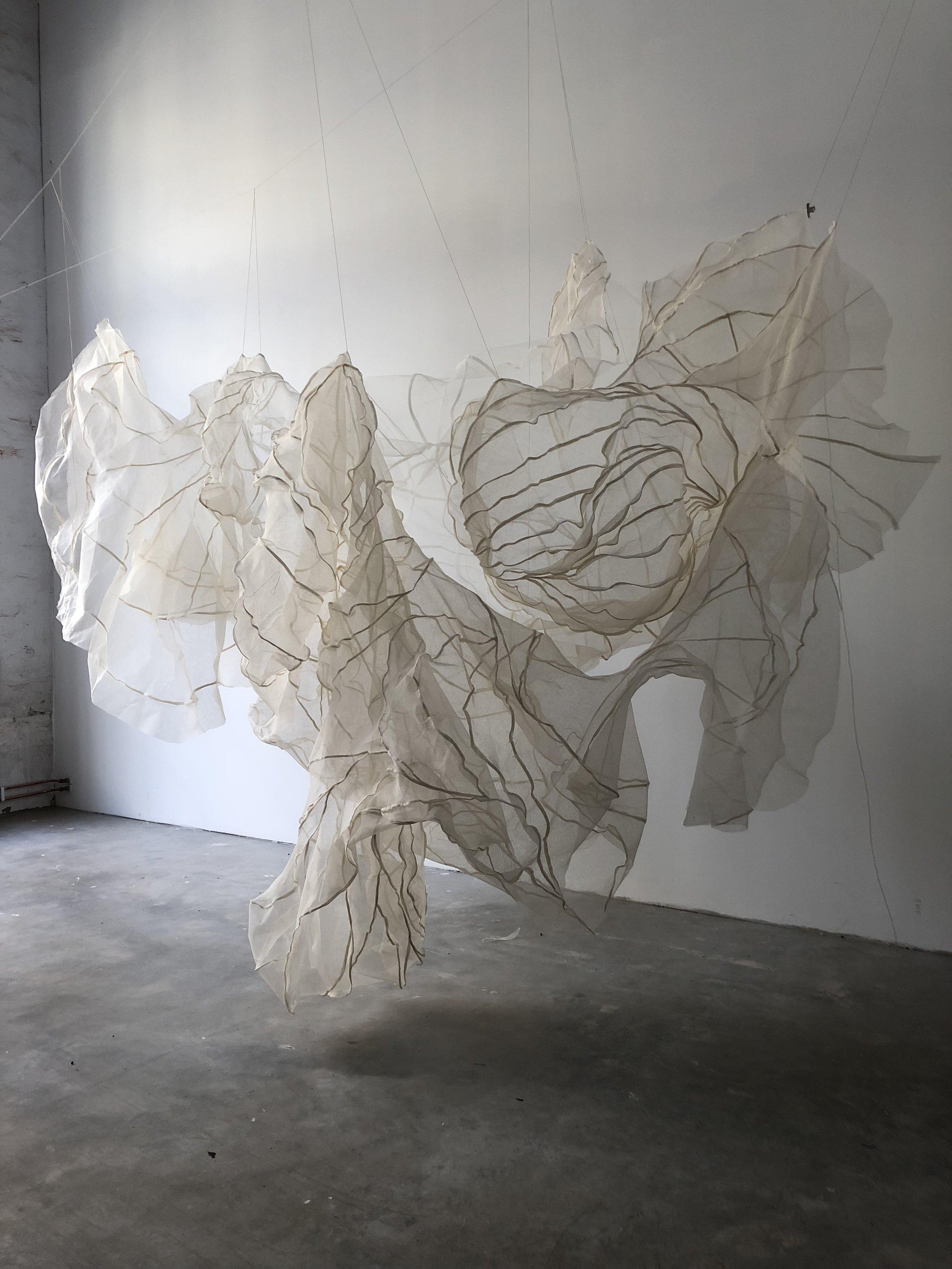 Textile sculpture 2019, cotton gauze and wire