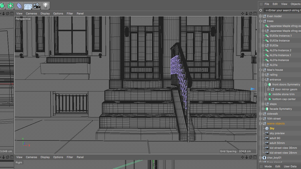 A 3D model of the front stoop of a Philadelphia row house