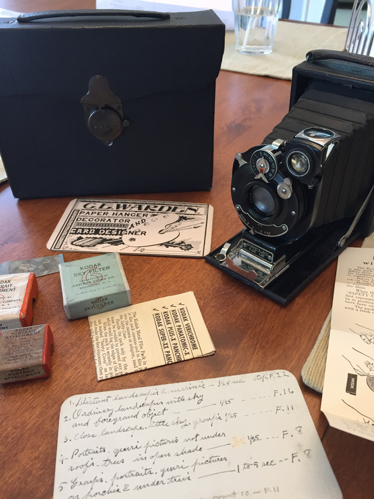 The old family camera, which was made in 1915. My great great uncle's exposure notes were probably made in the 1920s or 30s.