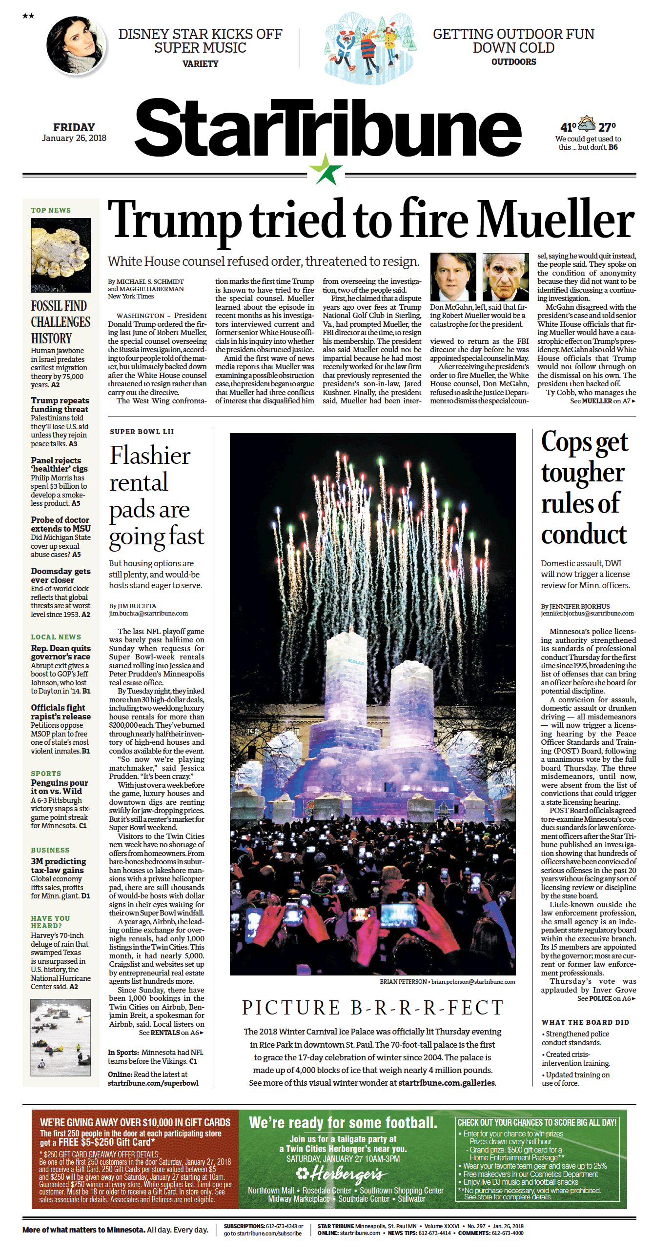 1.26.18 Winter Carnival Ice Palace Star Tribune A1 Full Page.png