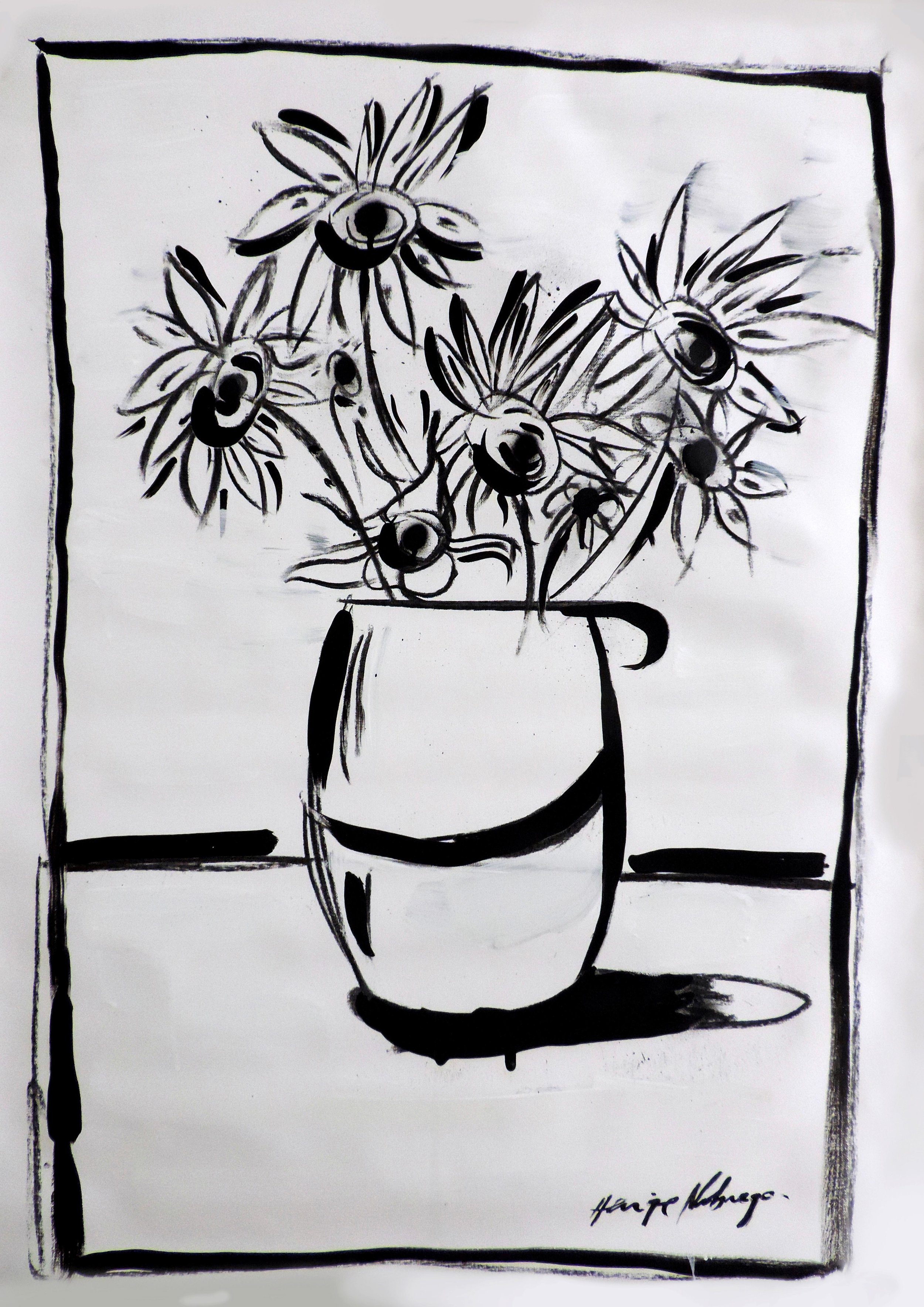 Oil and charcoal - 40x75CM Flowers - AVAILABLE