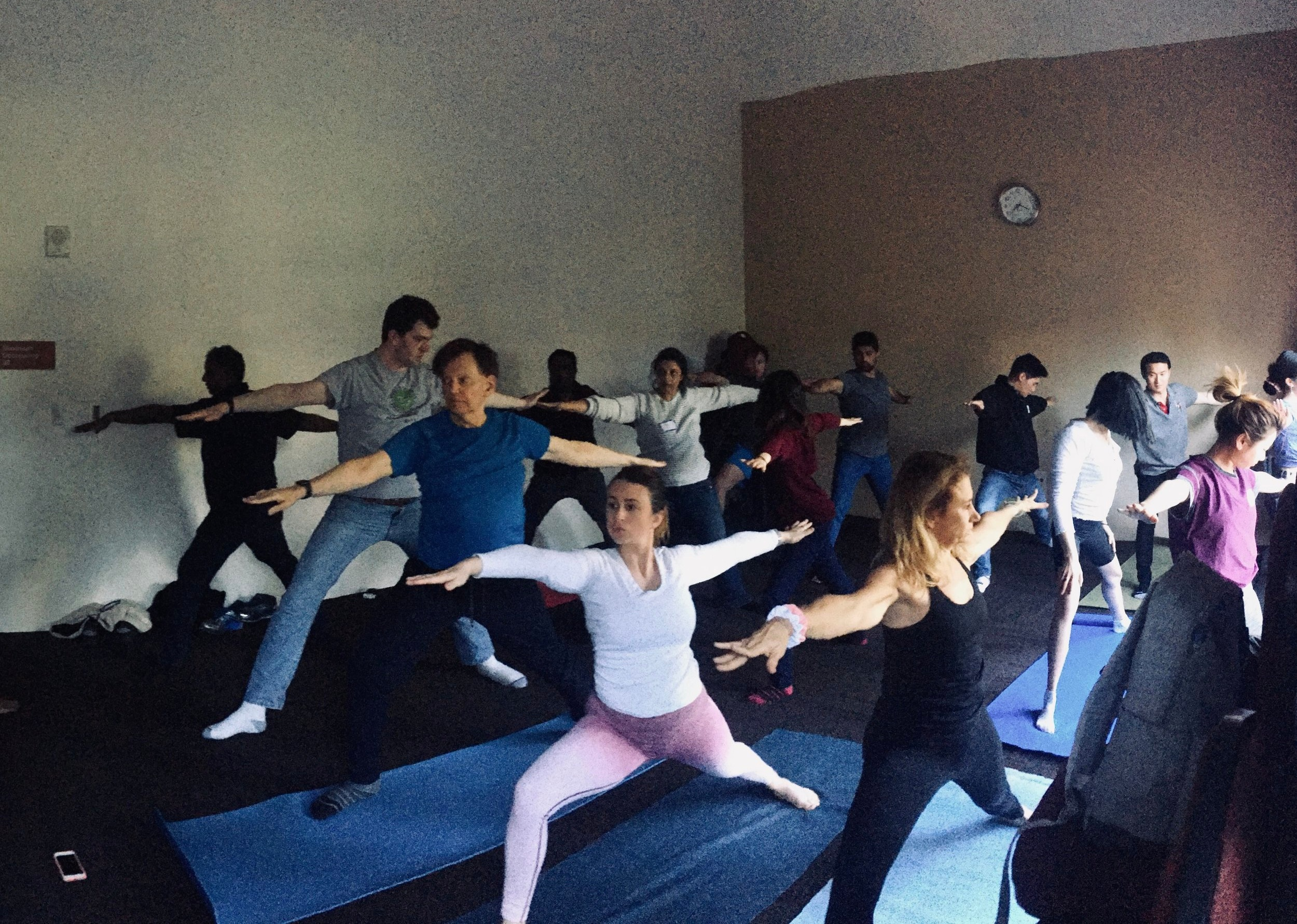 One of our mind+body focused activities offered during the hackathon: 30 min yoga workshops