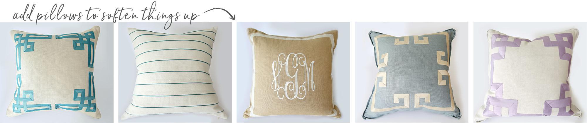 Custom linen pillows - Studio Linen Collection from A. HOME