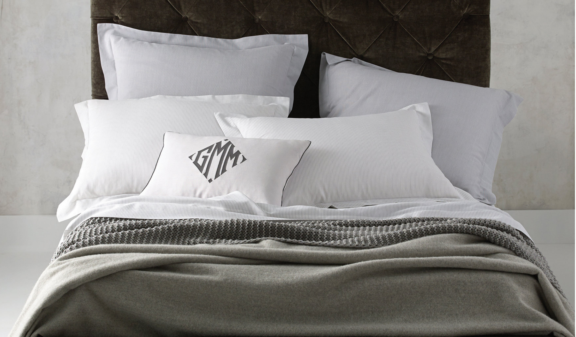 Grey and White Monogrammed Bedding by Matouk, available at A. HOME Summit, NJ