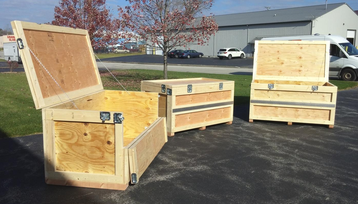 Hinged lids with Hinged half-panel - These convenient trade show crates feature a piano-hinged lid with a hinged front, half-panel (Bottom fixed), which grants easier access to the bottom of a deep crate. Secured by draw-latches with no removable panels, and no tools required, they're very user friendly. Add wheels for even more convenience? Sure!