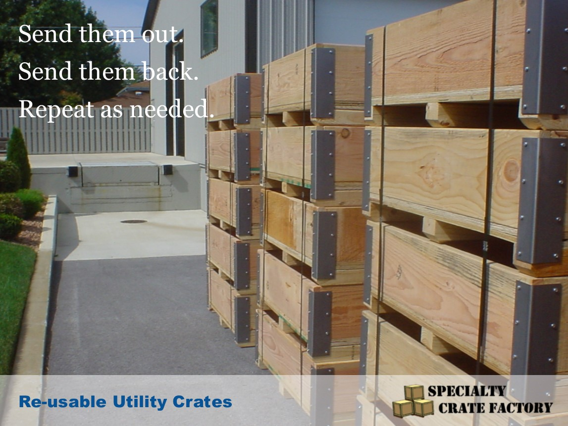The re-usable crates shown here can be used as bins for pallet rack organization, bulk storage of parts, for tearing down and re-building equipment, or shuttling material back and forth between facilities. (And much more)  The steel reinforced corners, and heavy duty construction, make them very durable, and usable for multiple round trips.