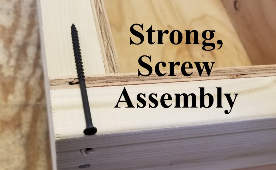 Our crate Box Assemblies - are also pre-drilled and then screwed together, with 4-inch screws (as shown and they're not sticking out all over the place either).Strong and well built. Simple as that.Common Industry Practice: Nailed or stapled which is certainly faster and a little easier.(But we prefer very strong.)