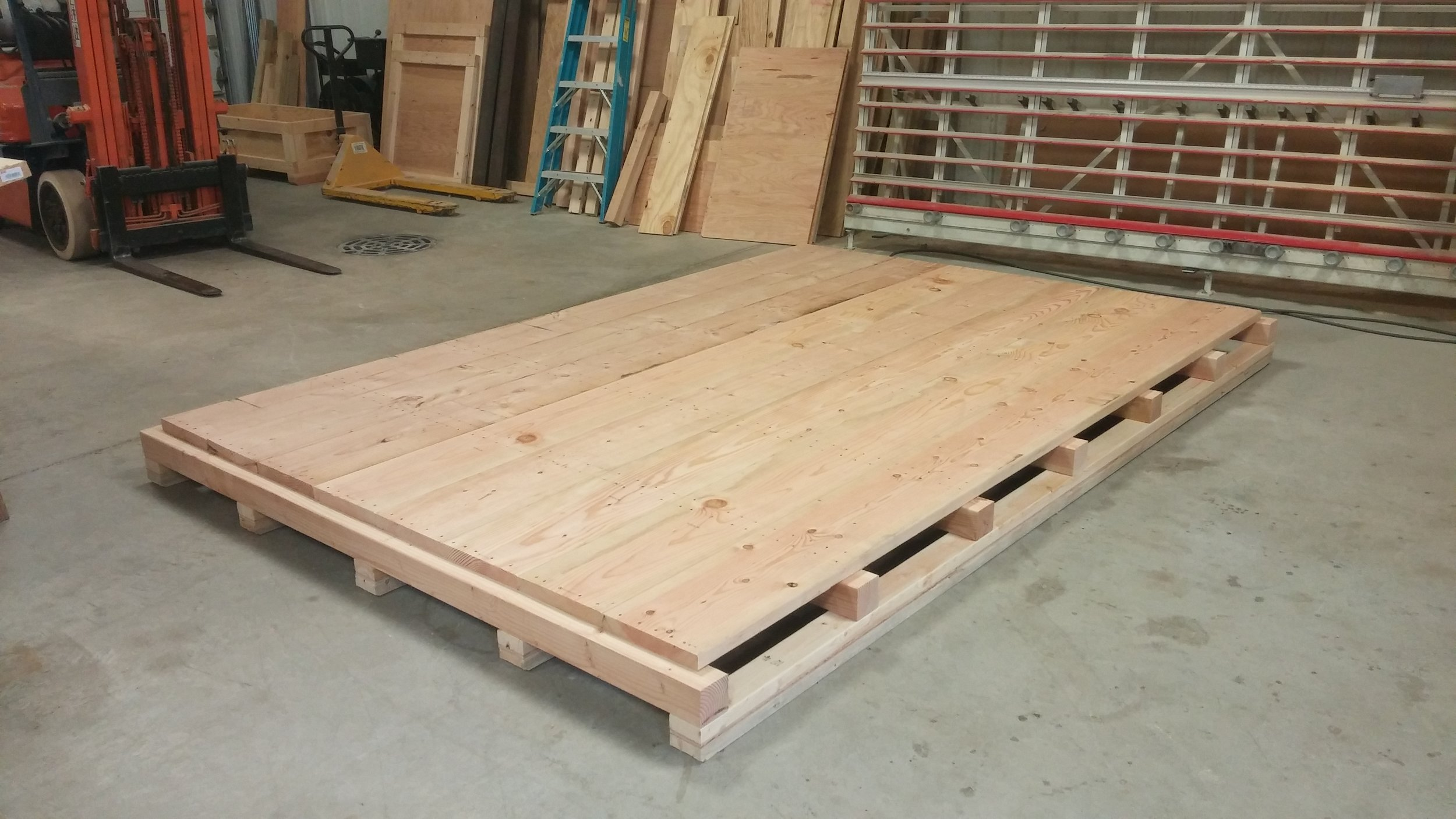 "Our crate bases/Decks - are made with a minimum 3/4"" thick plywood or double 3/4"" Ply (1-1/2"" Thick) depending on the usage.For really heavy-duty wood crates we like to use 2x12 (1-1/2"" thick planks). They make a really strong deck and give enough material to bolt or screw into. Great for machinery.Depending on the load, the crate's deck construction is a critical part of designing a crate for a particular job.Make it strong = No worries. That's how we like it."