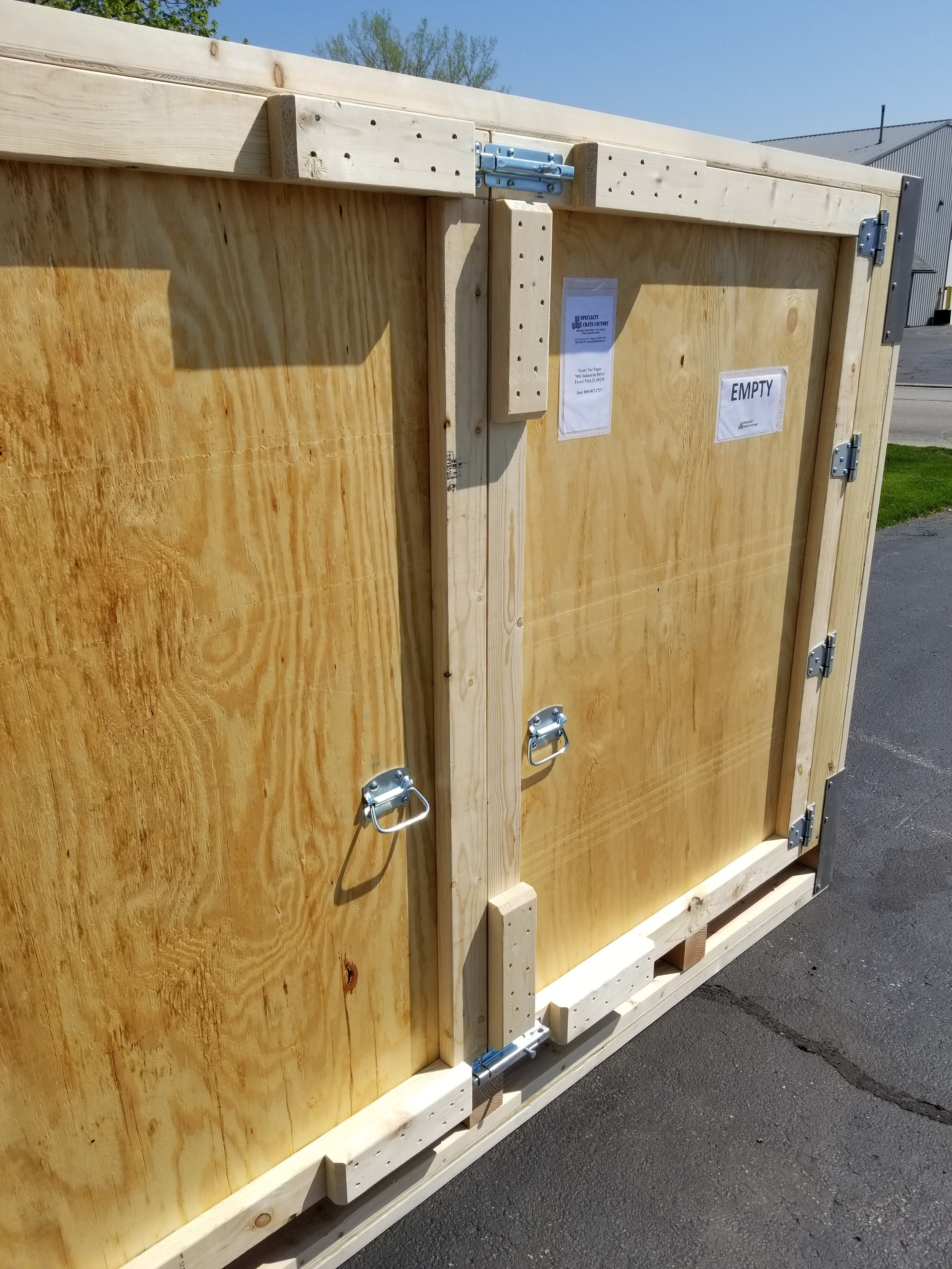 2x4 rub strips protect the hardware and crate itself from other cargo rubbing against it.