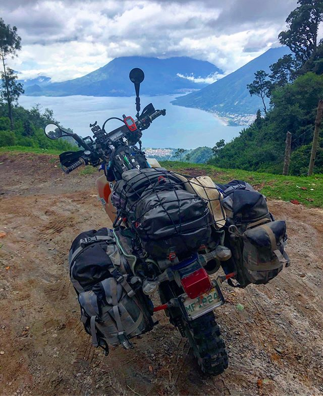 Beautiful lake Atitlán, Guatemala 🇬🇹. What an incredible country to ride through!