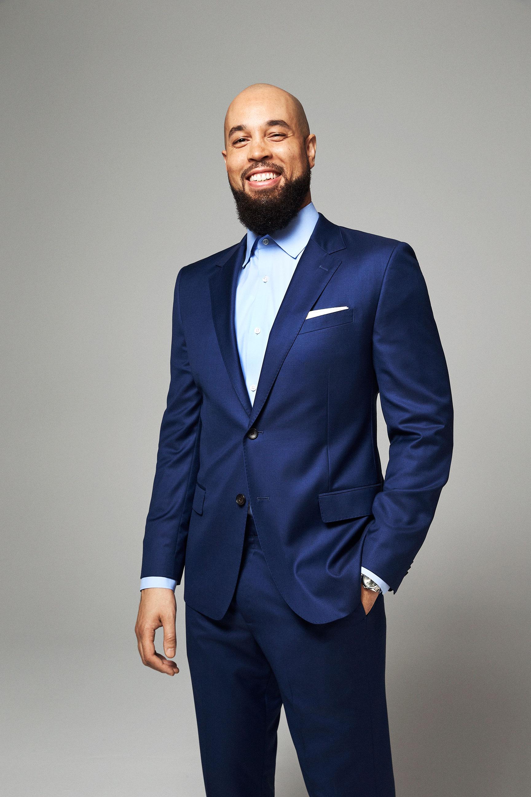 Premium Italian Wool Suit (Bright Navy)   ,    Jetsetter Stretch Dress Shirt (Solid Light Blue)   ,    Silk Twill Pocket Square (White)