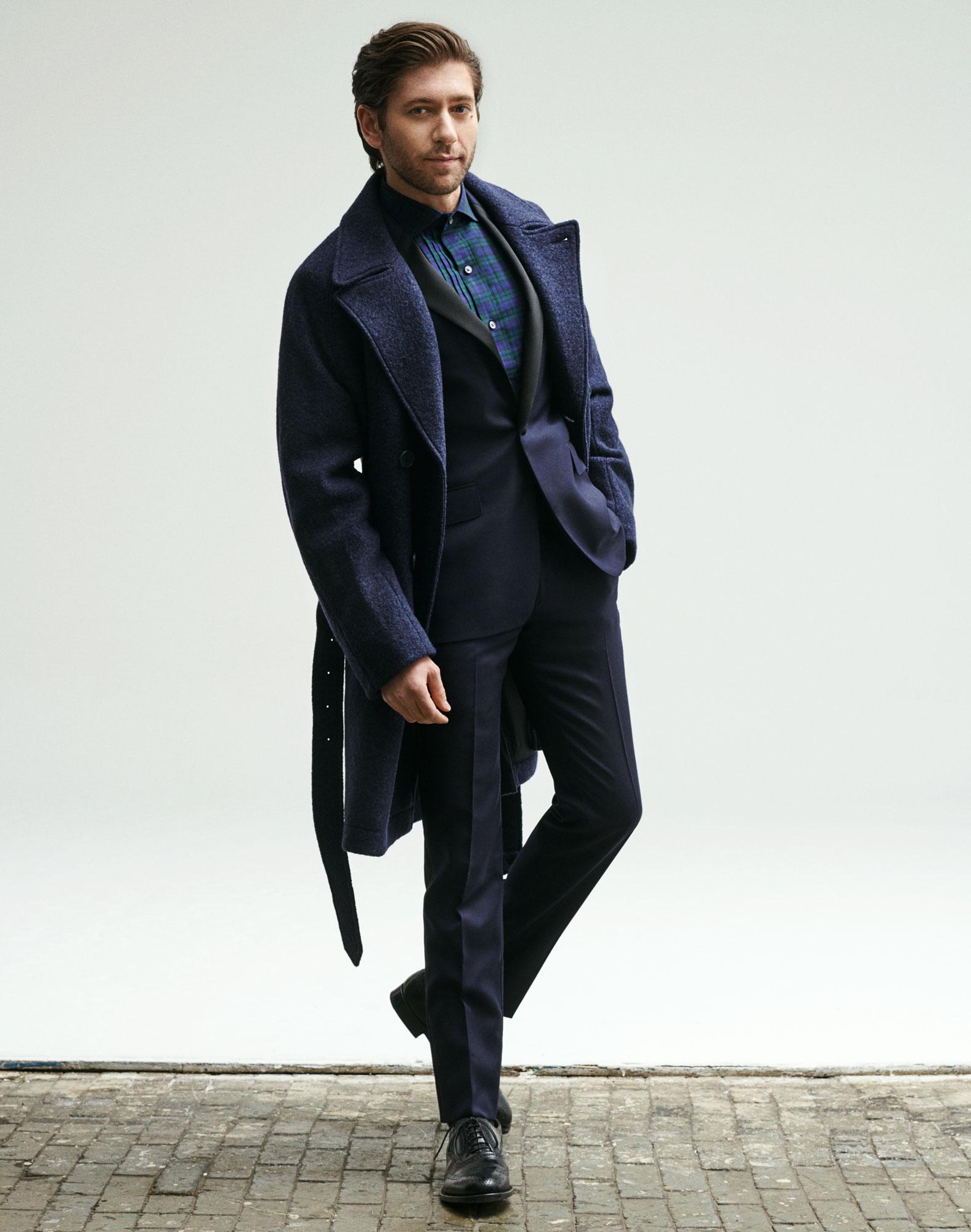 Michael wears the    Italian Topcoat (Navy Boucle)   , the    Tuxedo Shirt (Navy Holwick Blackwatch)   , and the    Capstone Italian Wool Tuxedo (Navy Hopsack)