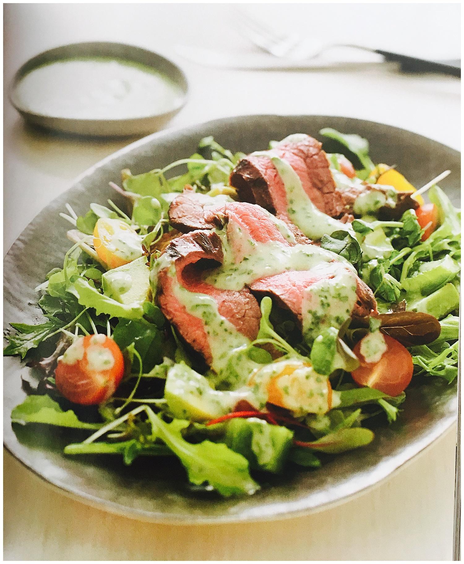 Steak salad with cilantro-lime-homemade mayo
