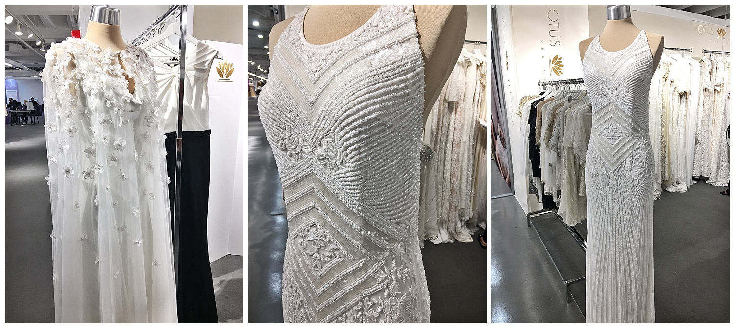 When we go to market, not only do we visit our designers that we've been working with for years, but we're always on the lookout for new collections. Above is a new collection to us, Lotus Threads. We brought them into the store only a few short months before this market and couldn't wait to see what was new. These are dresses that are so perfect for not only your wedding, but also a second reception dress, evening events or any special formal occasion.