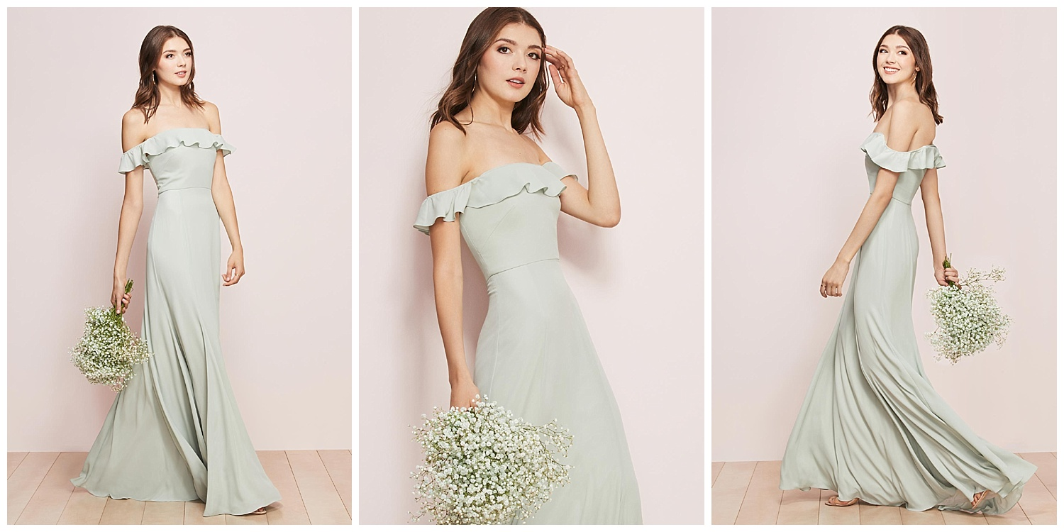 Get ready to watch groomsmen swoon in our off-the-shoulder Georgette gown that will fit, float and (duh) flatter every member of the bride tribe.