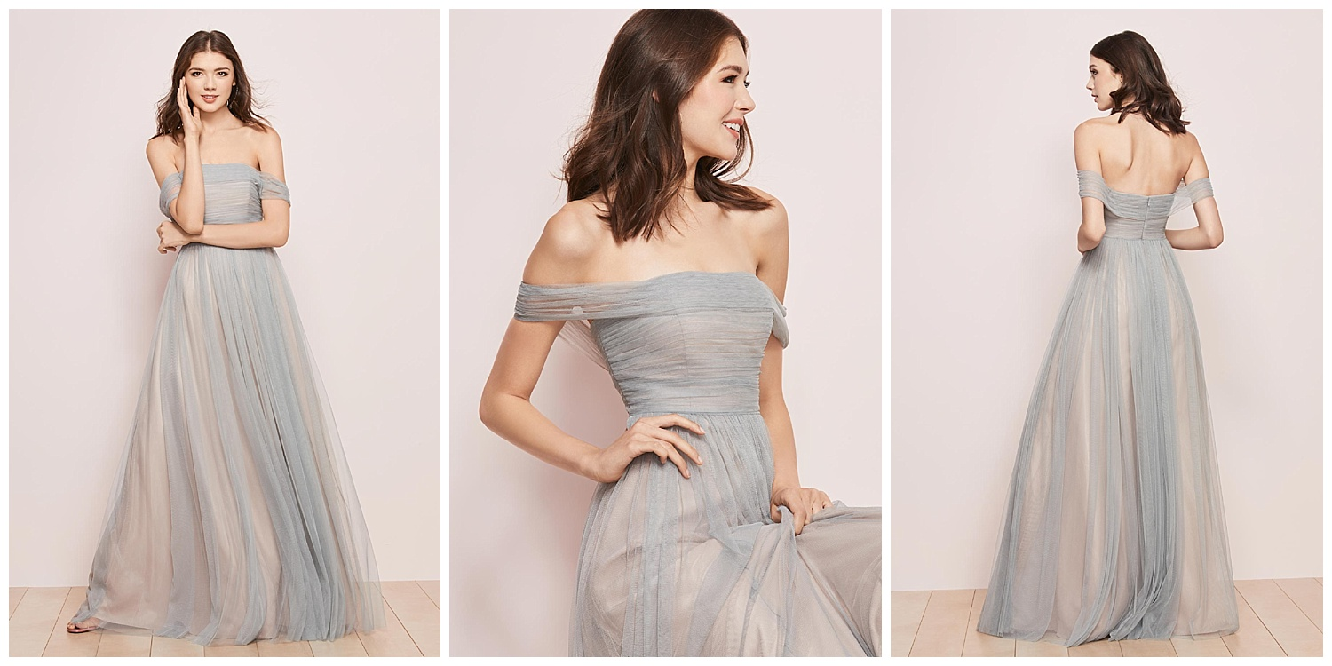 Leave them shaken and shirred (see what we did there) with a two-tone Bobbinet gown that drapes across your shoulders to dramatic effect.
