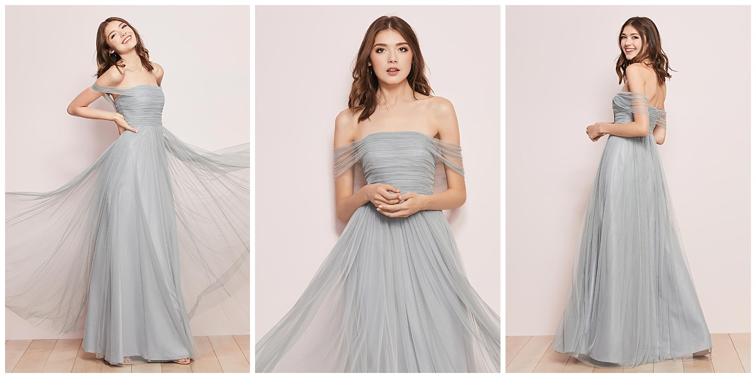 Leave them shaken and shirred (see what we did there) with a Bobbinet gown that drapes across your shoulders to dramatic effect.