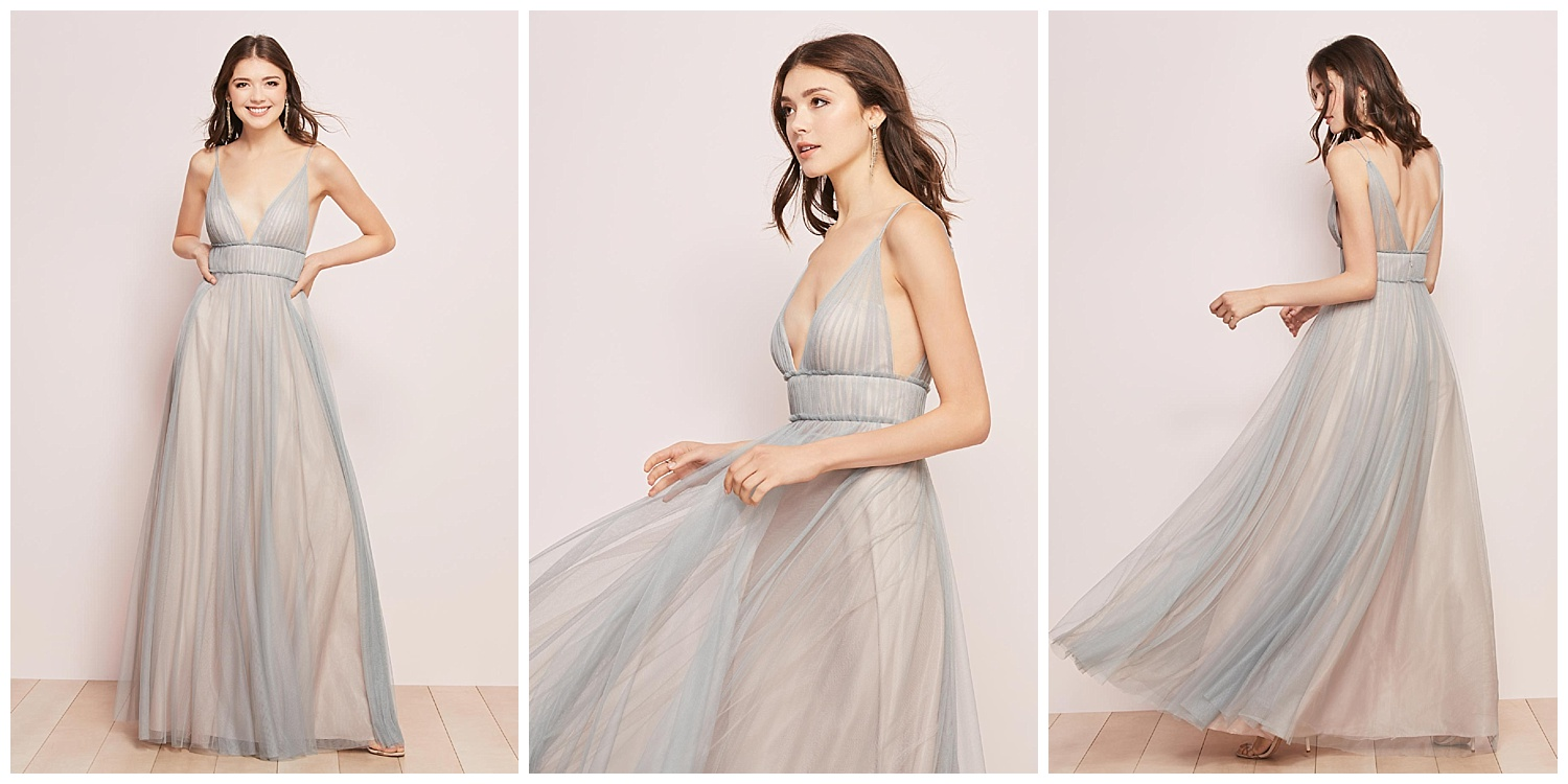 Just because you're the bridesmaid doesn't mean you don't want to look awesome—our two-toned Callie amazes with a shirred Bobbinet overlay and Empire waist.