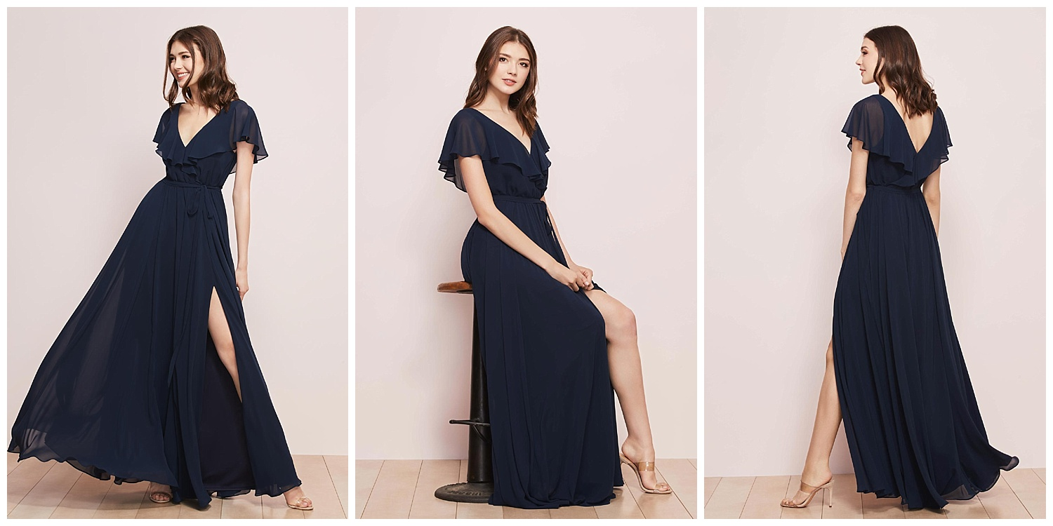 What to wear when you plan to dance at the reception? Our v-neck Chiffon Jordi with a major side slit, obvs.