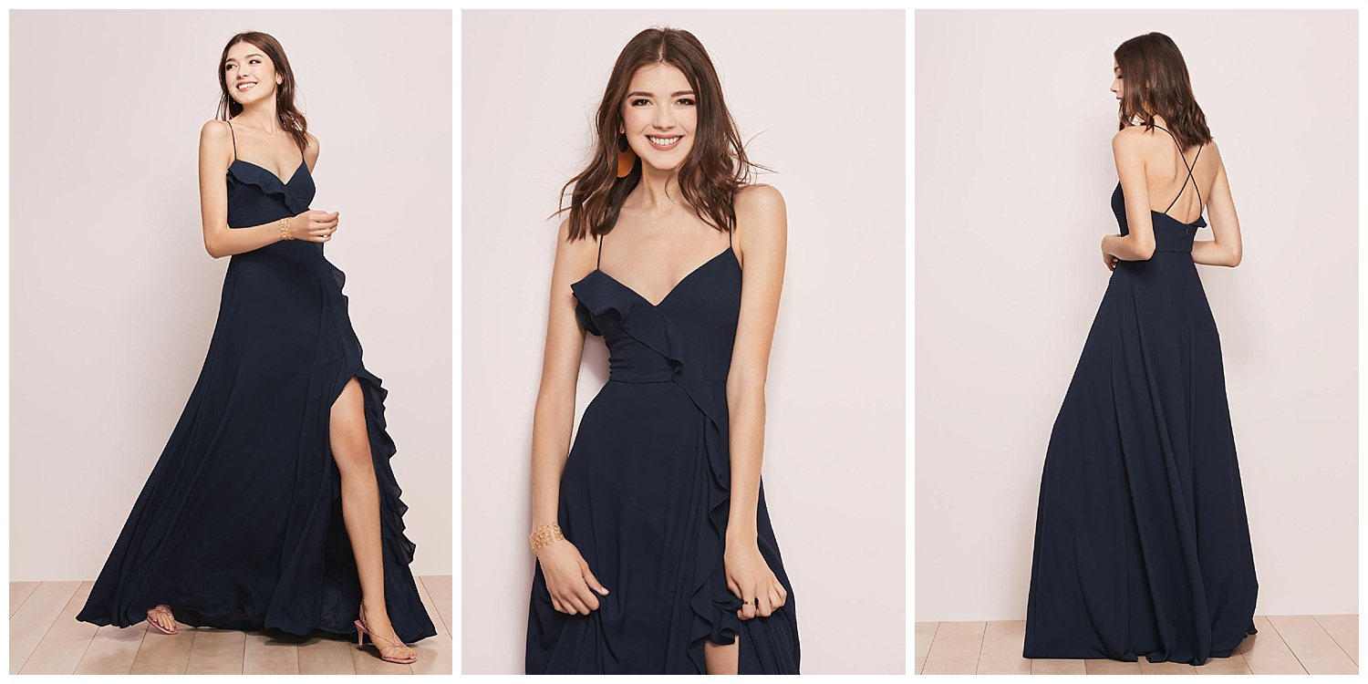 Crisscross straps, a flirty ruffle, or an up-to-there slit? Why not opt for all three in Melody Georgette…we promise you won't regret it.