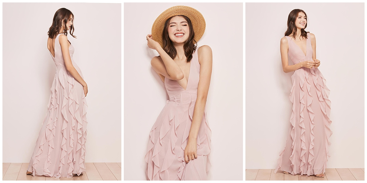Romantic events=ruffles: in this case, our chiffon dress made with row upon row of flounces draped all the way down to the ground