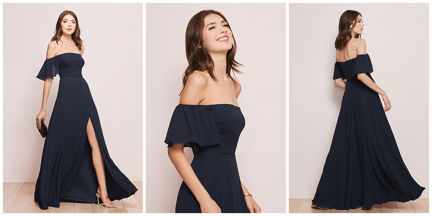 Show-off-your-shoulders neckline? Check. Flirty, floaty sleeves? Check. Thigh-high slit? Check. Basically, this floor-length gown has got it all.