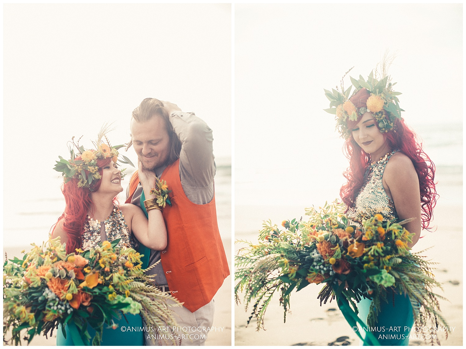 Aquaman and Mera pose at beach with oversized bouquet.jpg