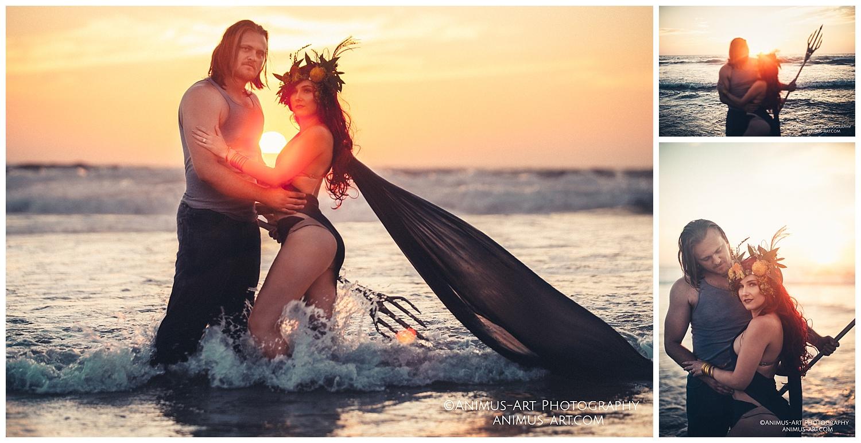 Aquaman and Mera Styled Shoot in Ocean Sunset Portrait.jpg